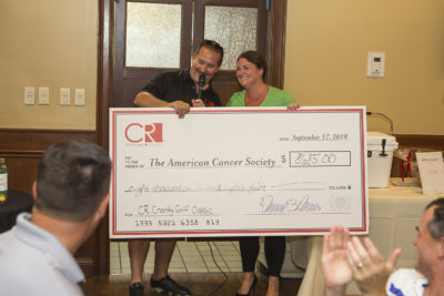 Check Donated to American Cancer Society