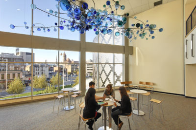 School for Creative and Performing Arts common space with abundant natural lighting
